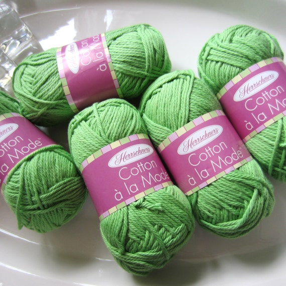 Herrschners Cotton a la Mode Yarn, 5 Balls, Bright Green