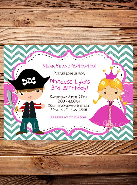 Princess and Pirate Birthday Invitation BOY GIRL Princess – Princess and Pirates Party Invitations