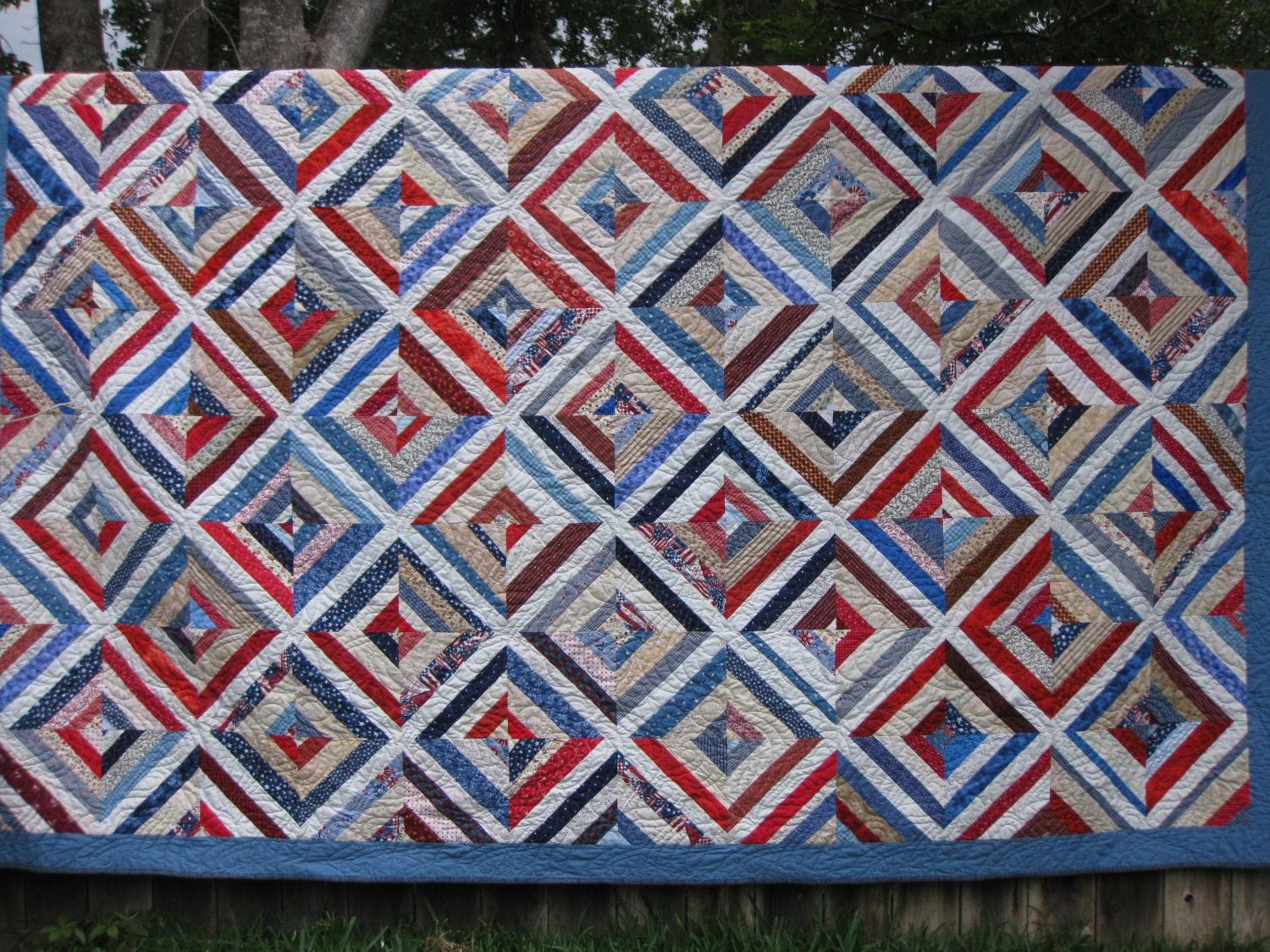 Queen Red White And Blue String Quilt 93 X 110 By