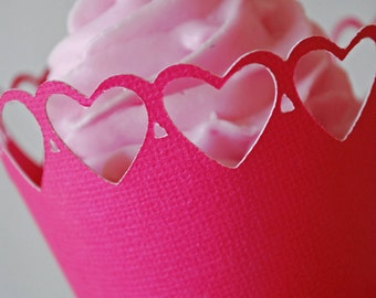 Valentine's Day Heart Cupcake Wrappers In your choice of color Qty 12 By Your Little Cupcake