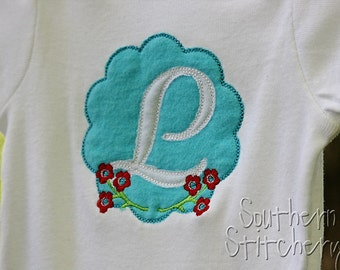 Personalized Girls Onesie Applique Initial Turquoise and red Customized Boutique Shower Gift