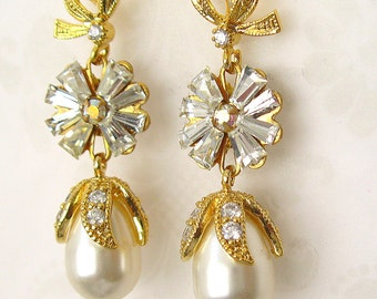 Crystal and Pearl Earrings Swarovski Cream Rose pearl, vintage Swarovski crystal post earring wedding jewelry gold plated