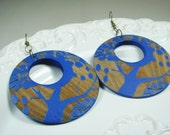 Blue Hoops Wood Hoops Blue Earrings Wood Earrings Women Jewelry Gift Ethnic Earrings Electric Blue Tree Earrings Wearable Art Earrings