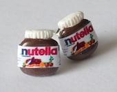 Mini Nutella post earrings - I love chocolate