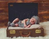 4 piece Grey Marble Newsboy Necktie DELUXE Set Hat, Necktie, Diaper Cover & Loafer Booties Newborn Crocheted Baby Boy photography prop