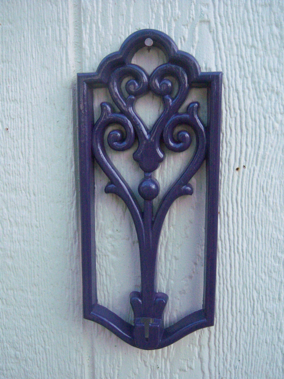 2 Deep Purple Plastic Wall Sconces Wall by StartathomeVintage