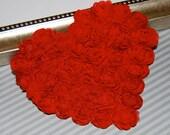 "Chiffon Hearts 3 pcs  - Large Red Shabby Chic Hearts -  Rosette Heart Applique - Valentines Day Hearts Fabric Hearts 4.75"" shabby shapes"