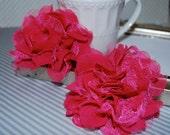 "Chiffon Lace Flowers  2 count Hot Pink Fushia 3.75"" fabric flowers - Shabby Chic Frayed Chiffon Lace Rose Flower hair brooch headband flower"