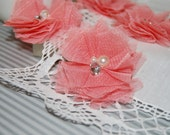 """4 pcs - Small Coral Tulle Mesh Fabric Flowers with Cluster Pearl & Rhinestone center - Gracie Collection - 2 1/4""""  flower - flat back"""
