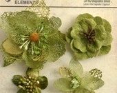 Moss Green Avocado flowers - beautiful textured blossom with  embellished centers  (4pcs) - vintage rustic embellishment flowers - 1256-201