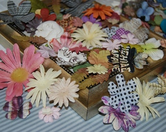 paper flowers layers - mix of daisies layers - leaves - printed paper flowers - use for cards-  confetti table decor - scrapbooking