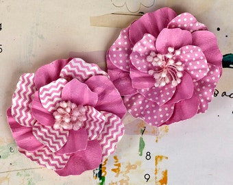 """Pink Paper Flowers - 2 pcs Ascot Park Carnation 566265 Mulberry paper flowers vintage chevron & polka dots - embellished centers 3"""""""