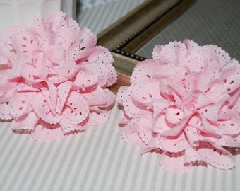 "Eyelet Chiffon  Flowers - 2 pcs Light Pink  - 3""  soft fabric flowers hair flower headband flowers DIY flowers brooch  - Teri Blossom"