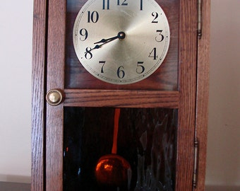 Solid Oak, Mission Style Clocks with Quartz Pendulum