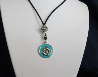 Fashion Jewelry - Aqua seashell jeweled Charm  Adjustable  Necklace with Silver aqua sparkle bead