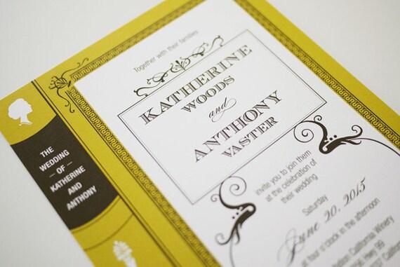 Vintage Book Wedding Invitation Printable By 3EggsDesign On Etsy