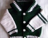 Boys/Girls  Size 18mths, 2 - Team Spirit Crocheted Hooded Sweater