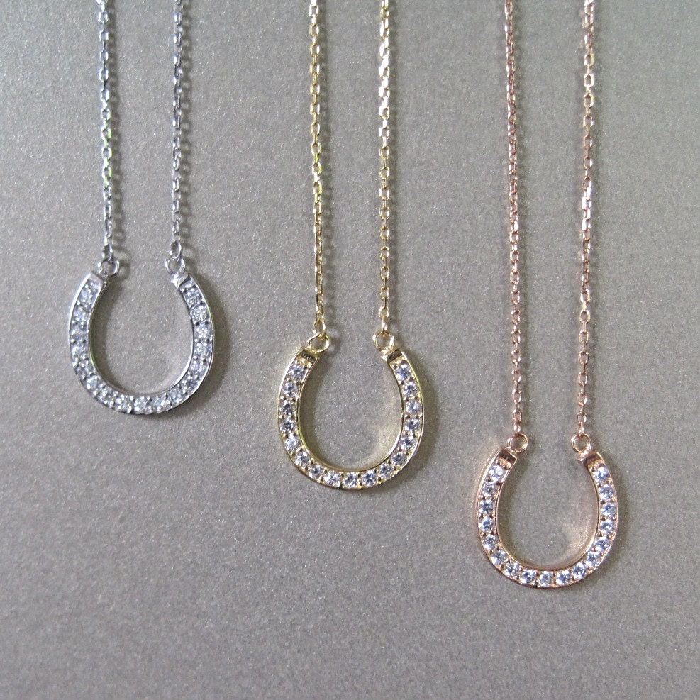 cz horseshoe necklace gold necklace lucky necklace