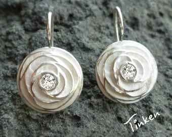 Diamond rose earrings, white gold earrings, fine jewelry, 14K white gold, hand carved - Rose Collection