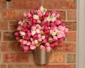 Spring Wreath- Spring Wall Pocket- Medium- Fuchsia, Pink, and White Tulip Wall Pocket