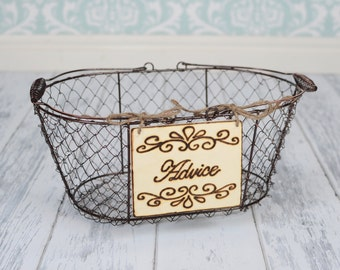 "Rustic Wedding ""Advice"" Sign (4 x 5"")  for Your Rustic, Country, Shabby Chic Wedding- Ready to Ship"