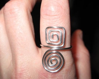 Wire Wrapped Spirals and Squares Oh My MADE to ORDER Adjustable Ring