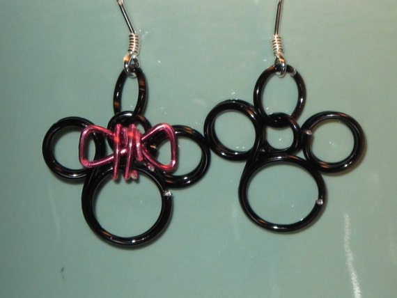 Wire Wrapped Mickey and Minnie Mouse Mini Heads Earrings MADE to ORDER