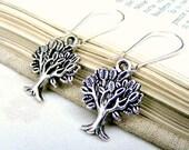 Silver tree earrings charm earrings, nature jewelry tree of life jewelry dangle earrings eco friendly earrings wood nature gift for her