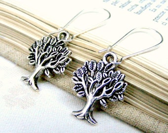 Silver tree earrings charm earrings, nature jewelry tree of life jewelry dangle earrings eco friendly earrings wood nature gift for her