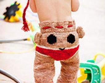 Sock Monkey Longies Pants Wool Hand Knit Sz Newborn custom