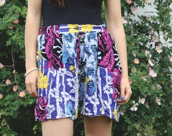 Vintage 80's Purple floral palazzo Shorts
