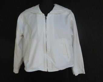 SALE Vintage Cotton NAUTICAL Jacket . WHITE Cropped Jacket w/Sailor Collar