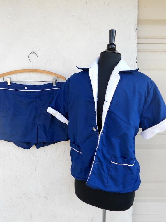 60s 70s Mens Swimsuit Cabana Set Terry Lined Swim Jacket
