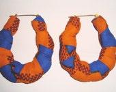 Orange & Blue Kente Print Hoop Door Knocker Retro Hip hop Earrings