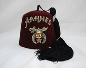 Vintage AAHMES Fez Hat,  22 1/2 inches,  7 1/4  /  7 1/2