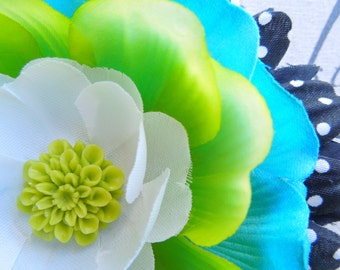 Lime Green Aqua Blue Polka Dot Daisy Flower Hair Clip