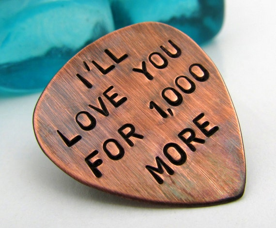 Custom Guitar Pick - Personalized Dad Gift - Hand Stamped Copper Guitar Pick - Mens Gift - Gift for Him Personalized Engraved Gift