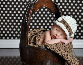 Newsboy Set blanket buddy and the cap  Photography prop