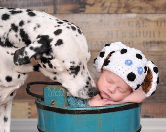 Dalmatian Puppy Beanie Crochet Baby Photography Prop Ready Item