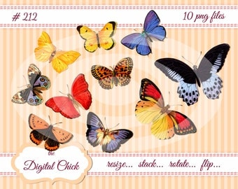 Digital Clipart, instant download, vintage butterfly, butterflies, printable png files, yellow butterfly, blue, orange,10 PNG files   212