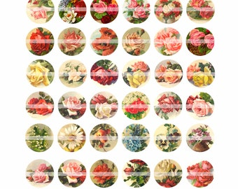 Digital Clipart, instant download, Vintage Roses, Flower, Daisy, Apple, Pansy, 1 inch Circles--Digital Collage Sheet (8.5 by 11 inches)  214