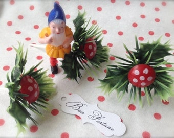 Fairy Tale Toad Stool Woodland Garden Gnome Fairy  Cupcake Pick