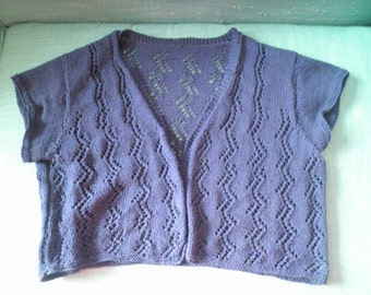 Navy cotton handknit lacey bolero M / L