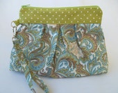 Wristlet, Pleated Paisley, green and blue paisley fabric with green polka dot facing