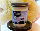Coconut Soy Candle, 8 ounce, Jelly Jar, White Soy Candle, Fresh Coconut Scented Candle