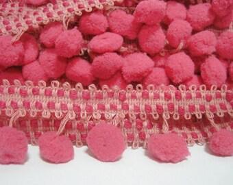 5 yards Shocking Pink Pom Pom Trim Stitch Ribbon, Large Pom Pom Trim, Pink Trim, pom pom, stitch ribbon, pink pom pom trim, pink ribbon