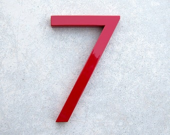 Modern House Number Aluminum Modern Font Number SEVEN  7 in RED