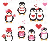 Valentine's Sale Clip Art Set - Penguins, Hearts, Love Letters, Flowers - Pink & Red - 12 Print Ready Files - JPG and PNG Format - ID 216