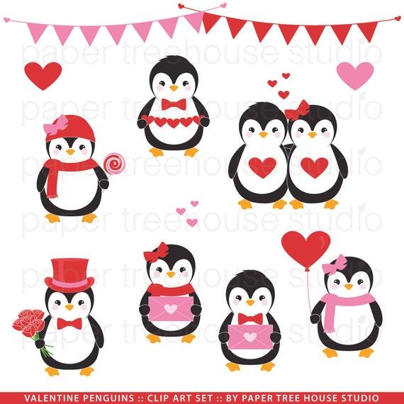 Valentine Clip Art. Penguins Clip Art. Heart Clip Art. Flower Clipart.  Penguin Clipart. Flower Clip Art. Valentine PNG. DIY Valentine Card.
