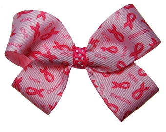 Large Pink Breast Cancer Awareness Hair Bow Find a Cure